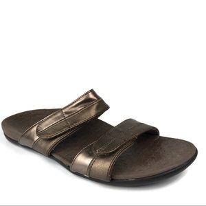 Vionic Sandals Shore Slides Bronze Metallic